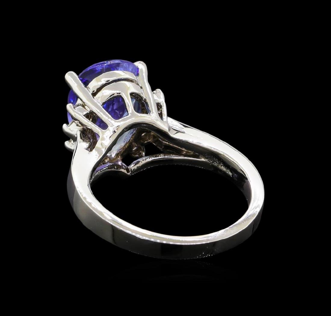 3.62 ctw Tanzanite and Diamond Ring - 14KT White Gold - 3