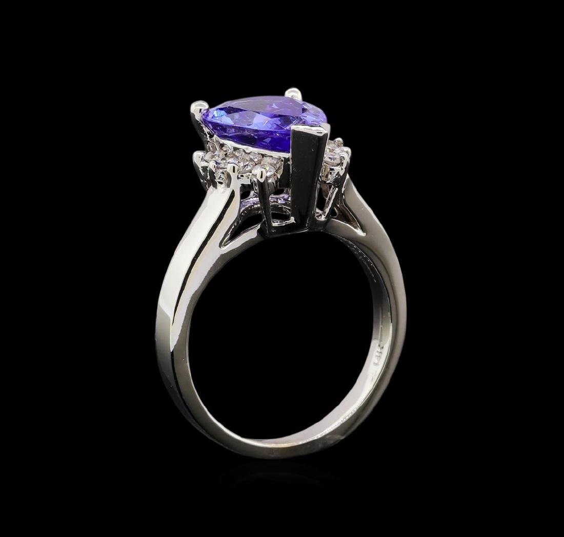 3.62 ctw Tanzanite and Diamond Ring - 14KT White Gold - 4