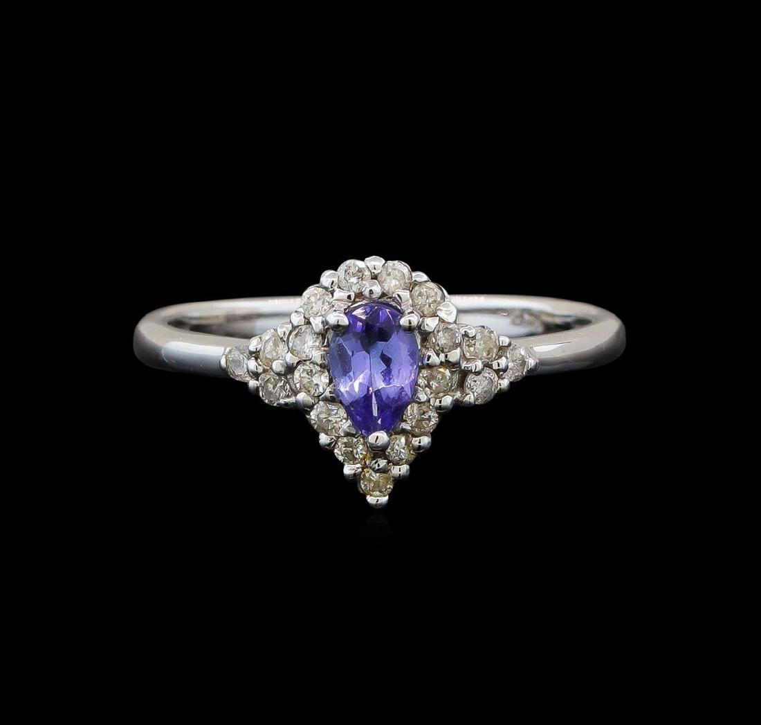 14KT White Gold 0.35 ctw Tanzanite and Diamond Ring - 2