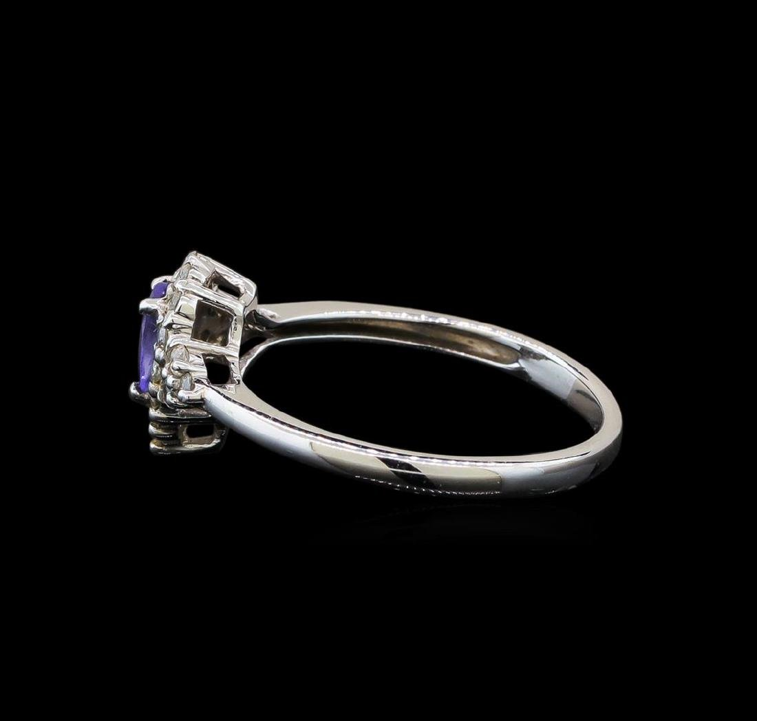 14KT White Gold 0.35 ctw Tanzanite and Diamond Ring - 3