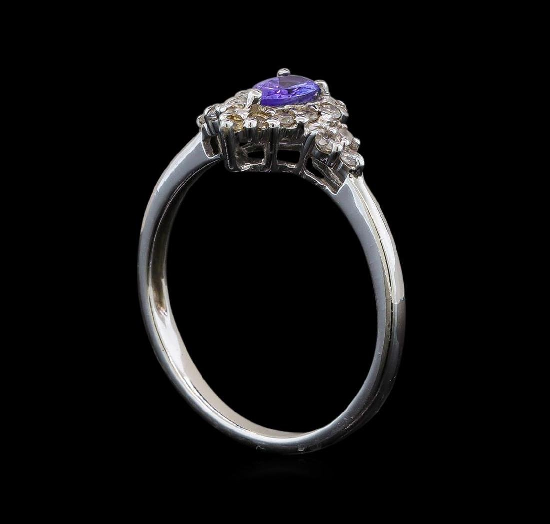 14KT White Gold 0.35 ctw Tanzanite and Diamond Ring - 4