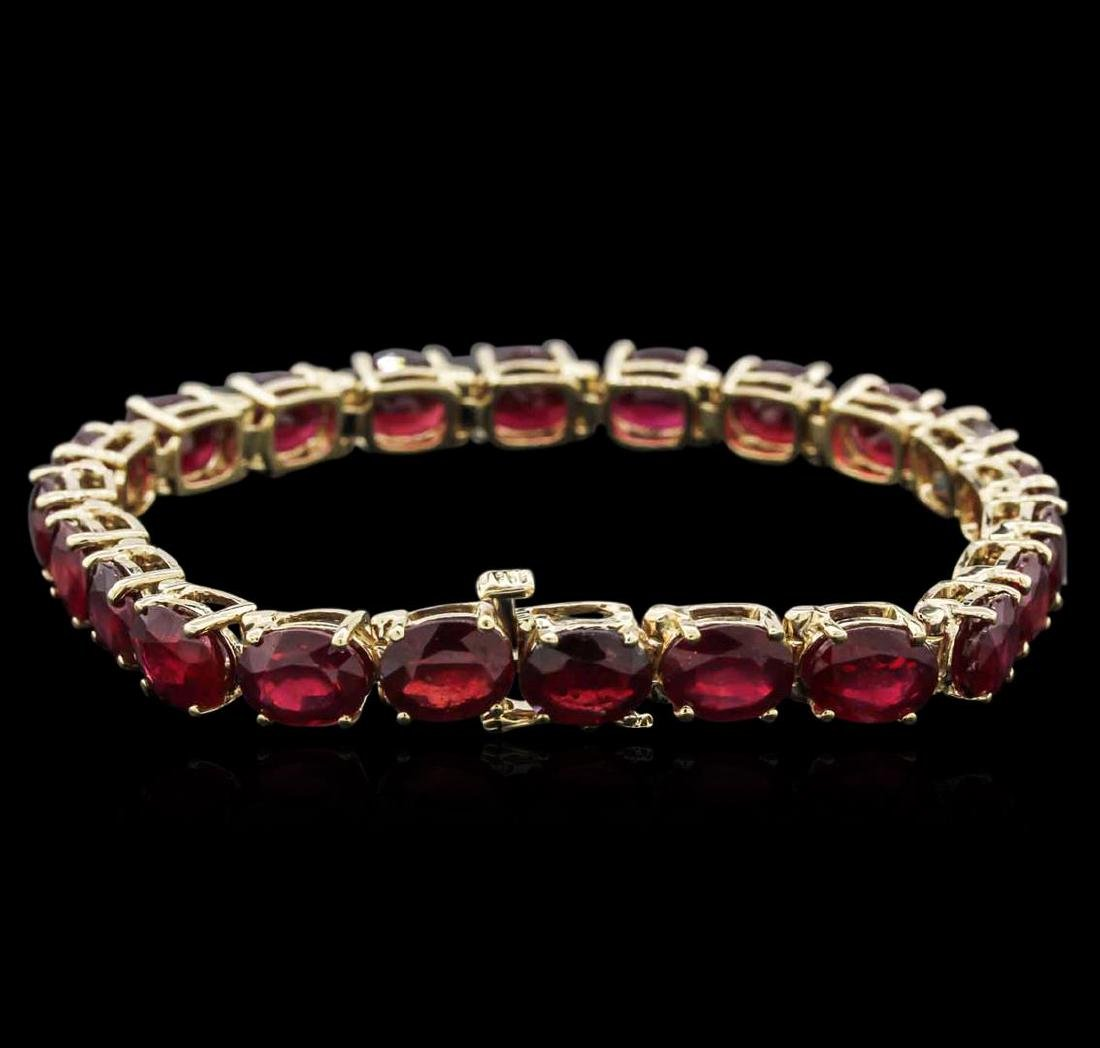 14KT Yellow Gold 33.96 ctw Ruby Bracelet - 2