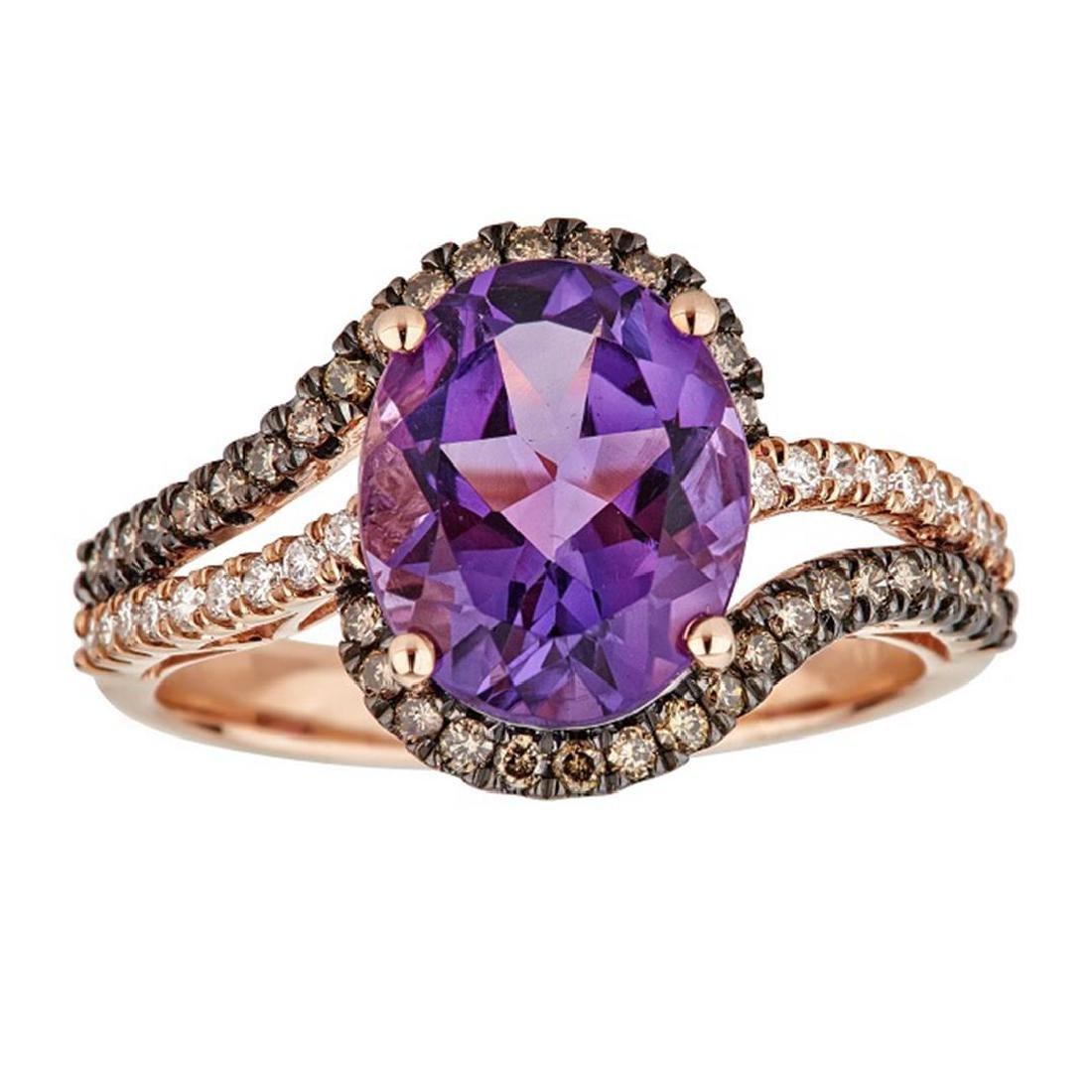 3.25 ctw Amethyst, Brown Diamond and Diamond Ring -