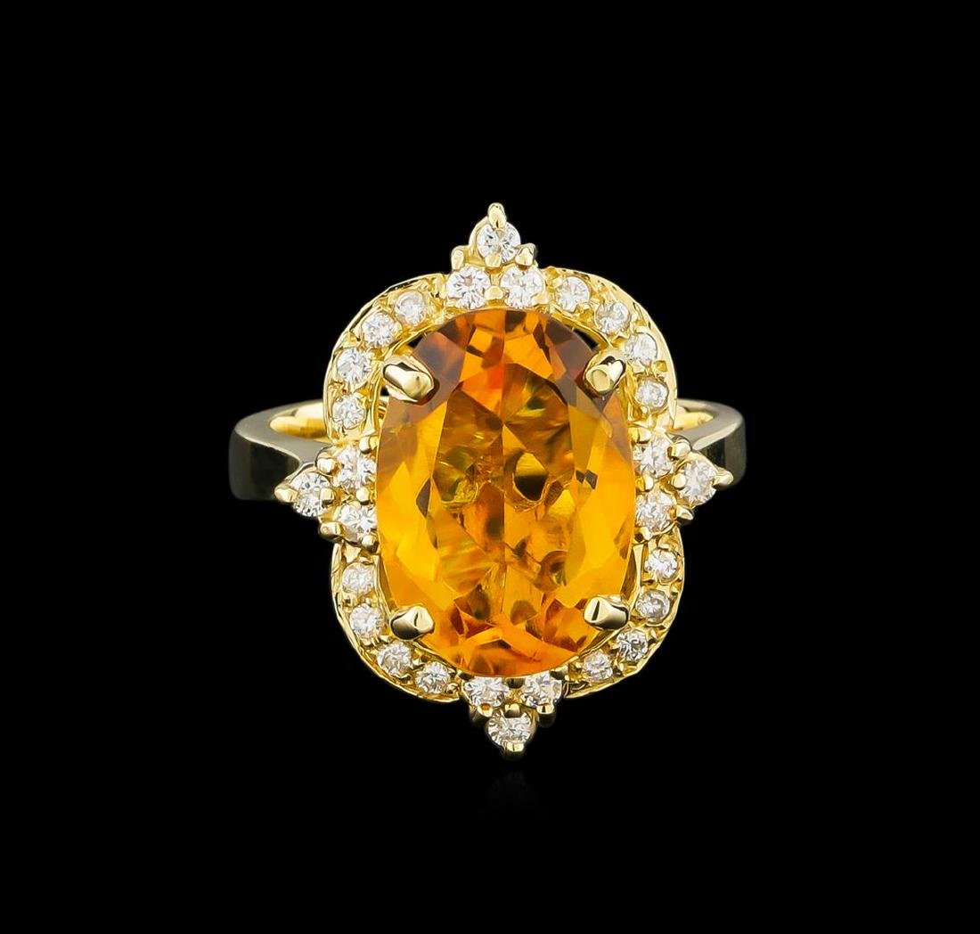 5.25 ctw Citrine and Diamond Ring - 14KT Yellow Gold - 2
