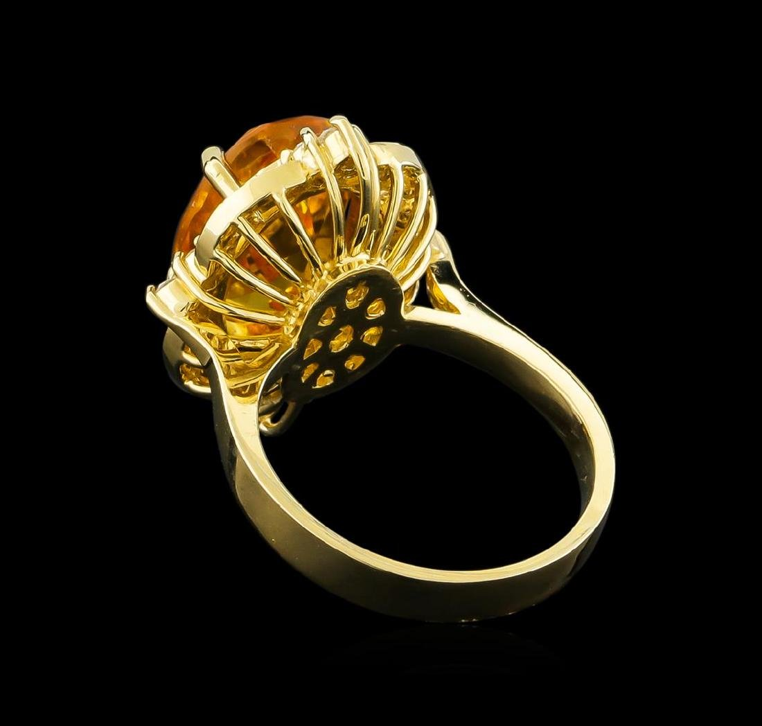 5.25 ctw Citrine and Diamond Ring - 14KT Yellow Gold - 3
