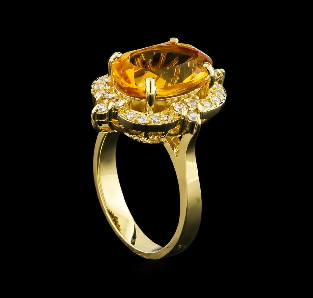 5.25 ctw Citrine and Diamond Ring - 14KT Yellow Gold - 4