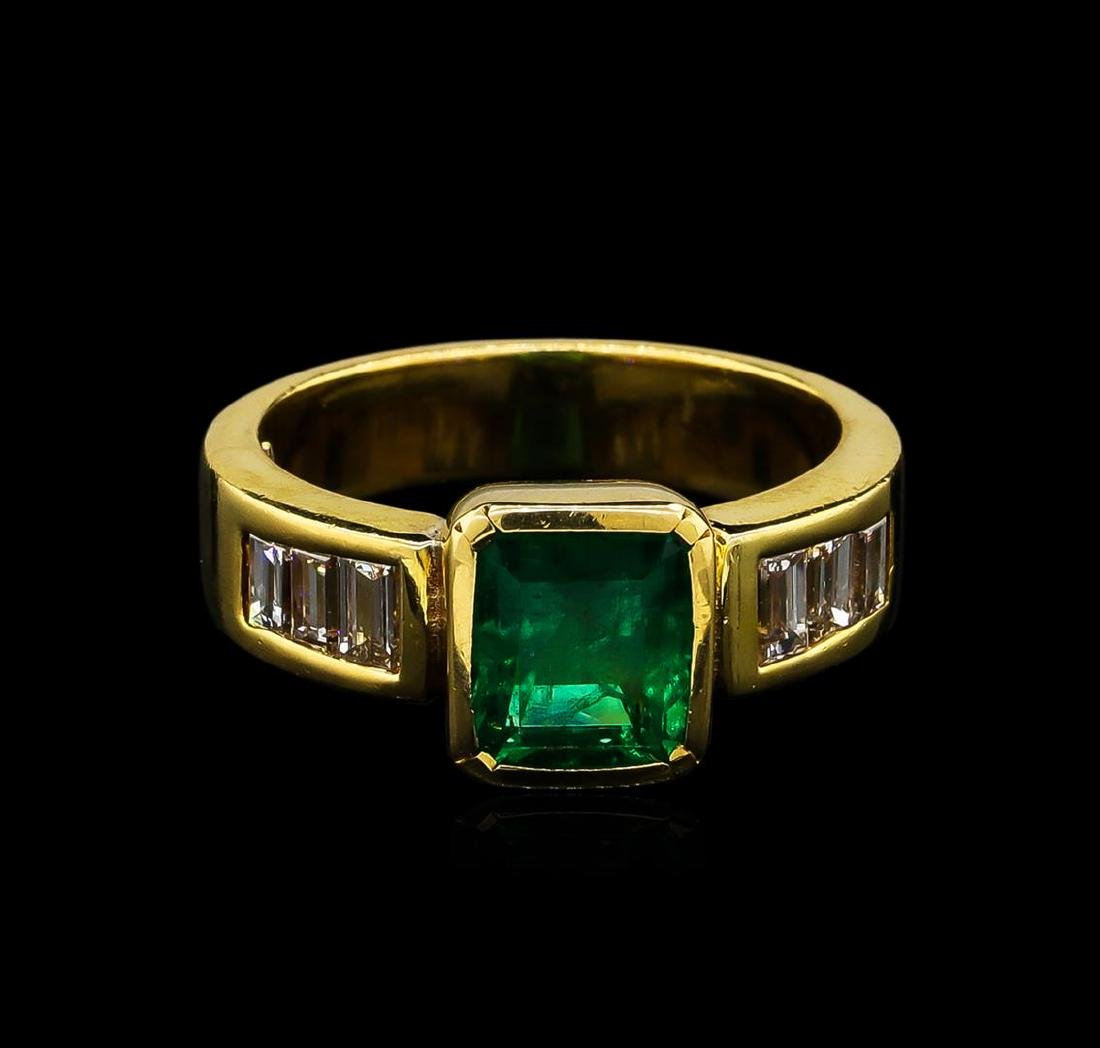 2.40 ctw Emerald and Diamond Ring - 18KT Yellow Gold - 2
