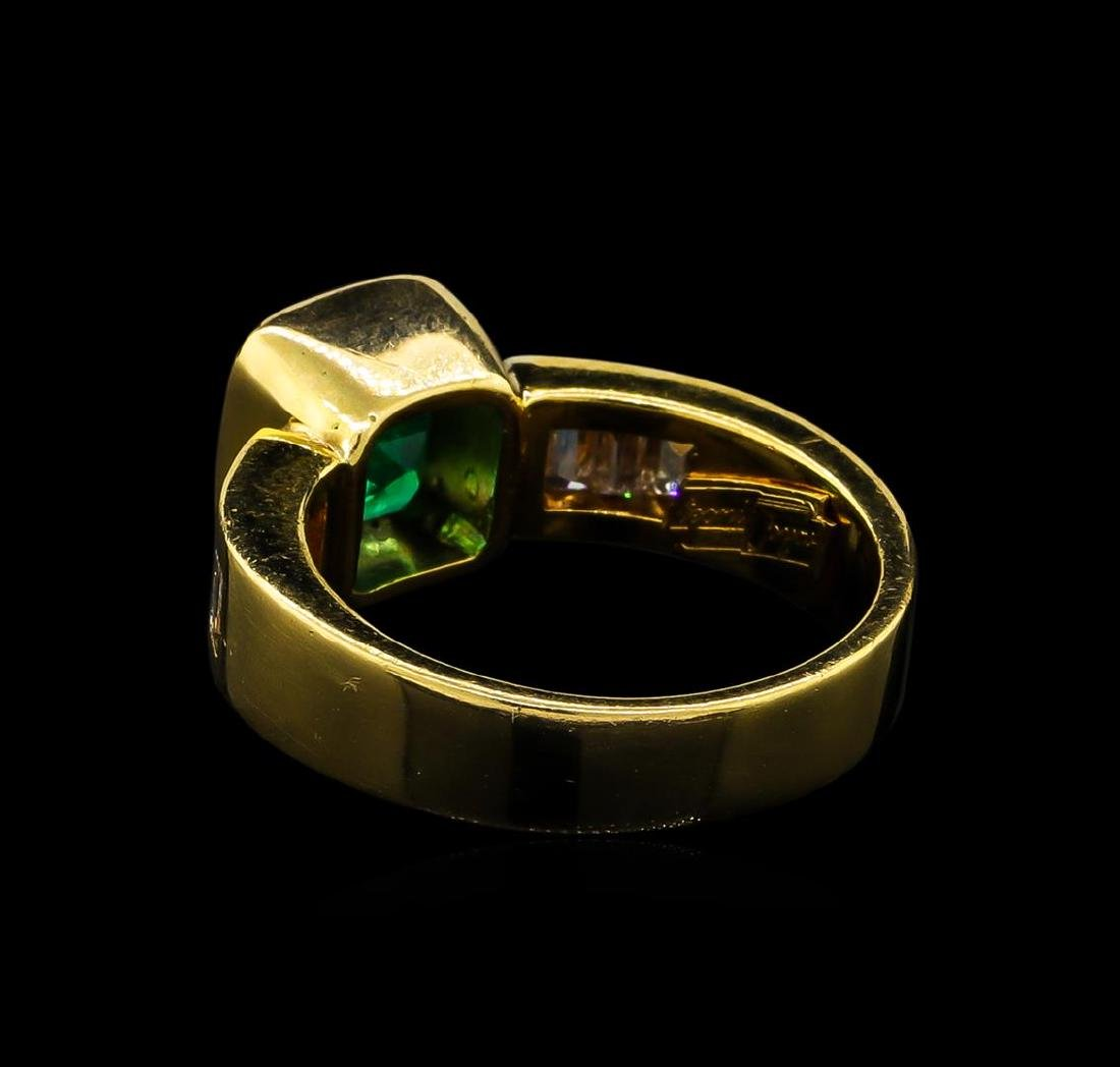 2.40 ctw Emerald and Diamond Ring - 18KT Yellow Gold - 3