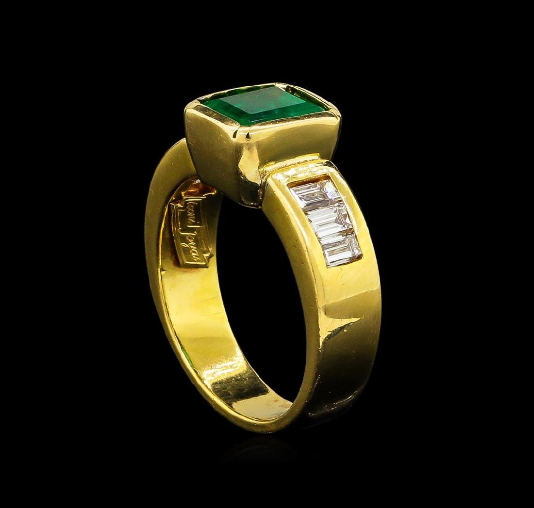 2.40 ctw Emerald and Diamond Ring - 18KT Yellow Gold - 4