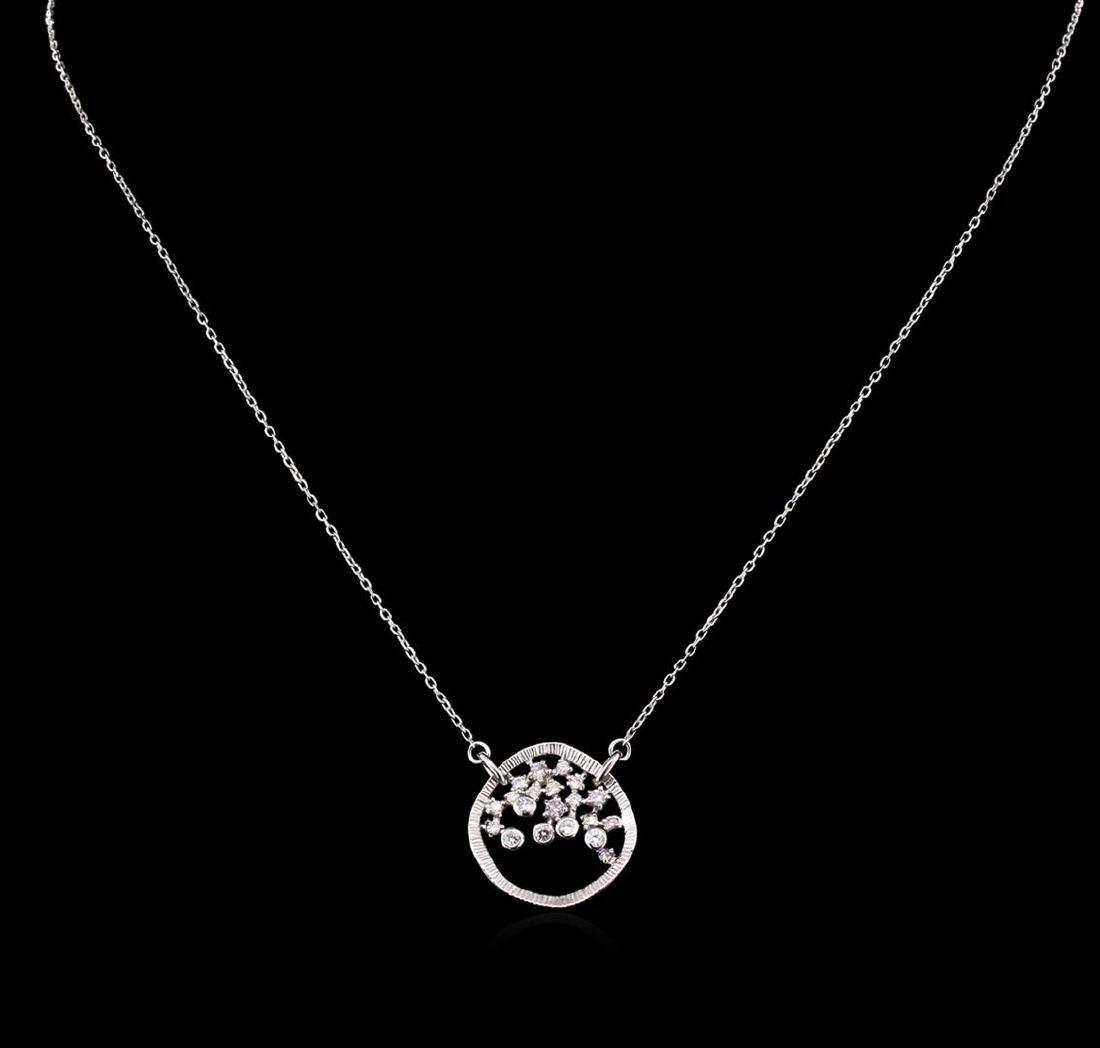 0.34 ctw Diamond Necklace - 14KT White Gold - 2