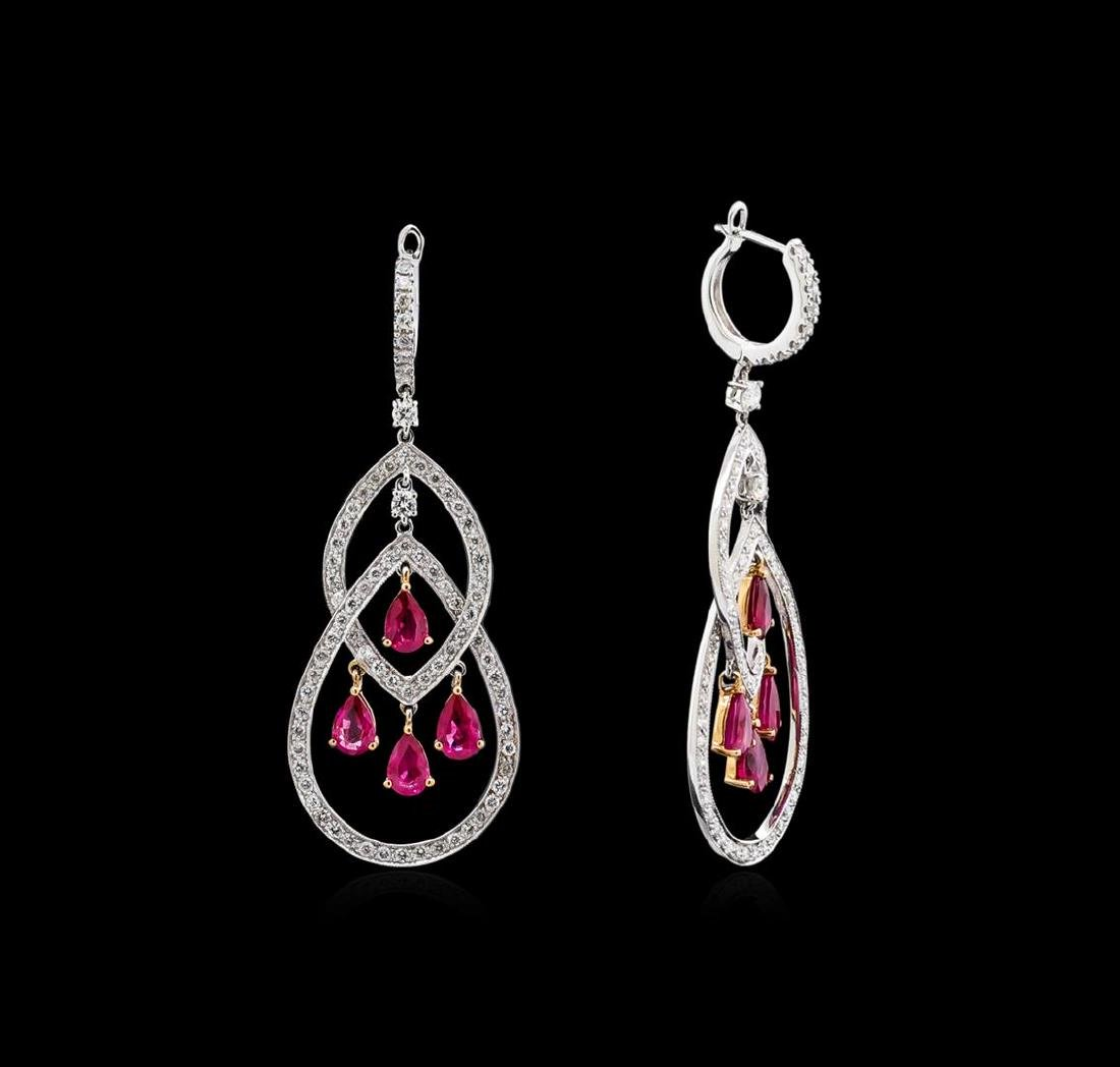 4.12 ctw Ruby and Diamond Earrings - 18KT Two-Tone Gold - 2