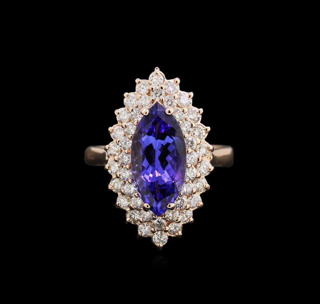 3.11 ctw Tanzanite and Diamond Ring - 14KT Rose Gold - 2