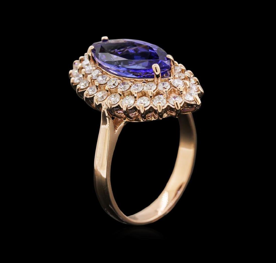 3.11 ctw Tanzanite and Diamond Ring - 14KT Rose Gold - 3