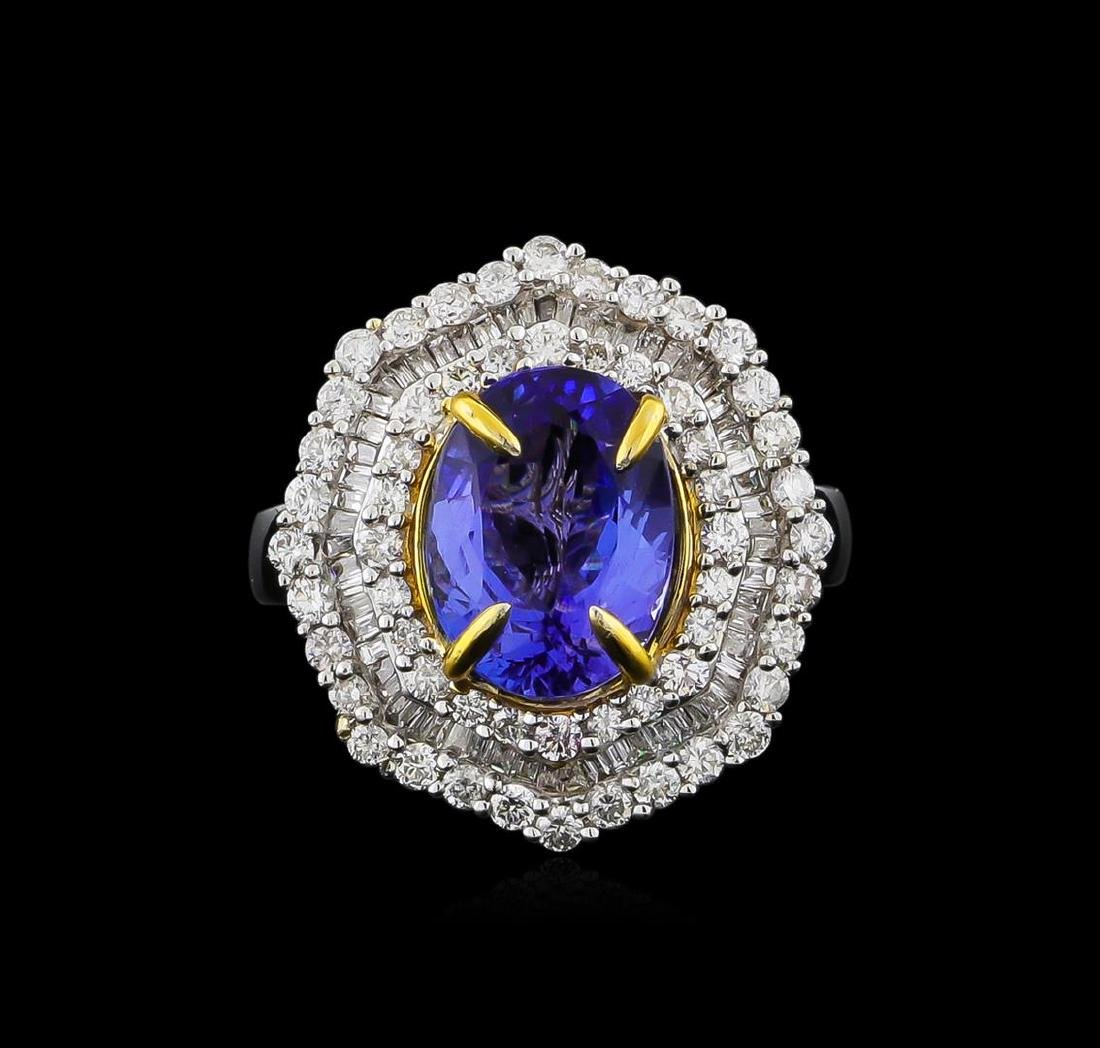 14KT Two-Tone Gold 2.63 ctw Tanzanite and Diamond Ring - 2