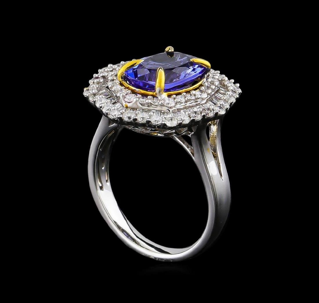 14KT Two-Tone Gold 2.63 ctw Tanzanite and Diamond Ring - 4