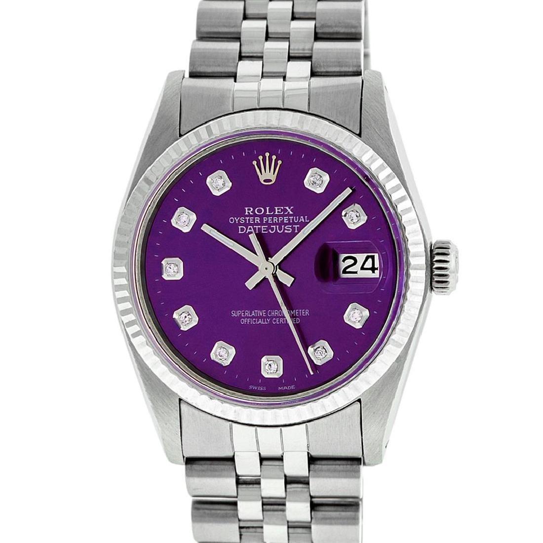 Rolex Mens Stainless Steel Purple Diamond 36MM Datejust - 2