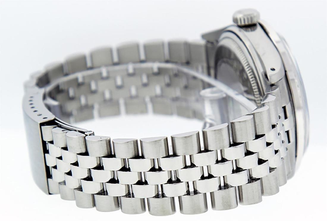 Rolex Mens Stainless Steel Purple Diamond 36MM Datejust - 3