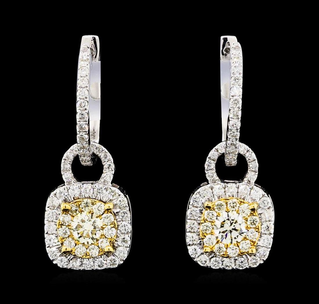 1.17 ctw Diamond Earrings - 14KT White And Yellow Gold
