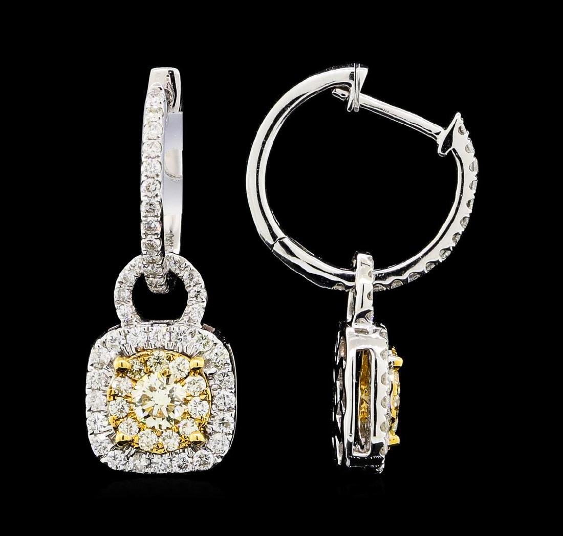1.17 ctw Diamond Earrings - 14KT White And Yellow Gold - 2