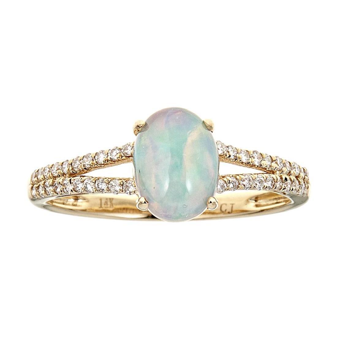 0.9 ctw Ethiopian Opal and Diamond Ring - 14KT Yellow