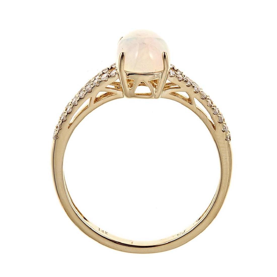 0.9 ctw Ethiopian Opal and Diamond Ring - 14KT Yellow - 2