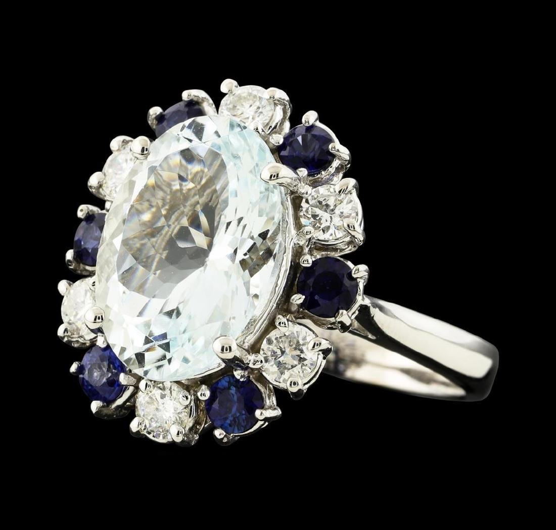 4.96 ctw Aquamarine, Sapphire and Diamond Ring - 14KT