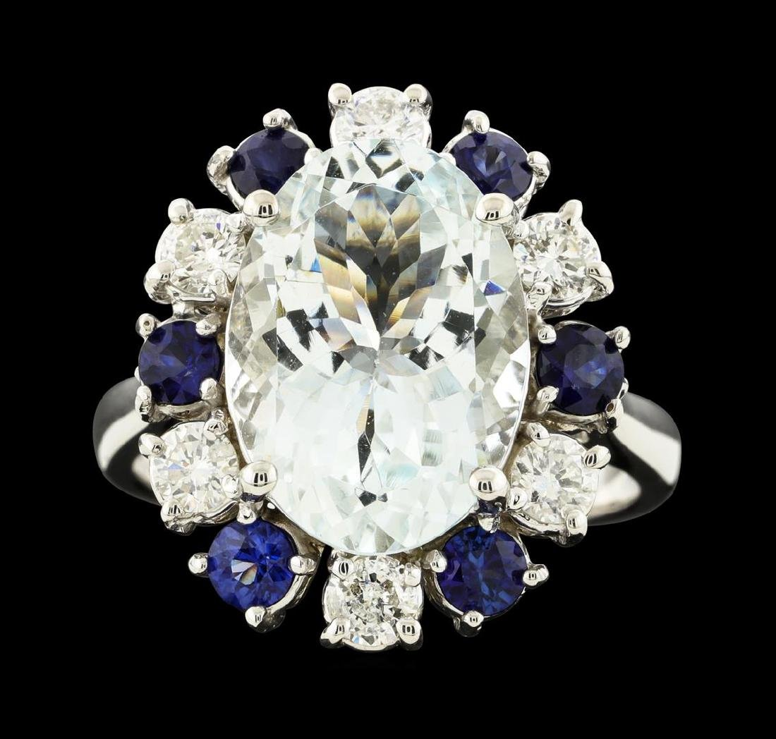 4.96 ctw Aquamarine, Sapphire and Diamond Ring - 14KT - 2