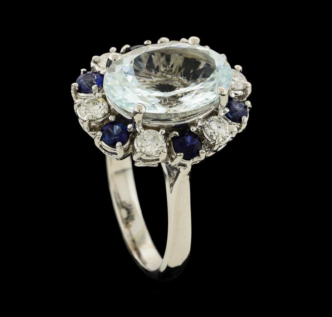 4.96 ctw Aquamarine, Sapphire and Diamond Ring - 14KT - 4