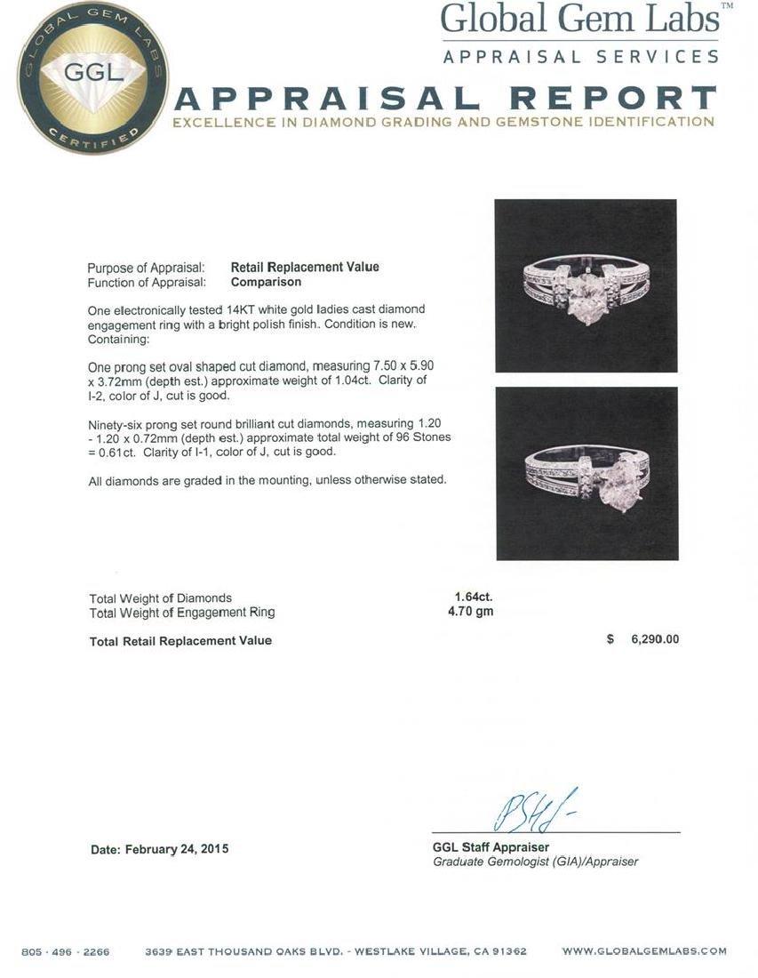 14KT White Gold 1.64 ctw Diamond Ring - 4