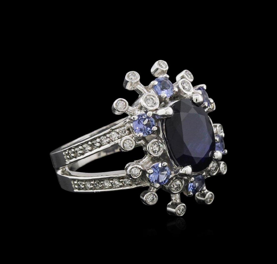 14KT White Gold 3.49 ctw Sapphire, Tanzanite and