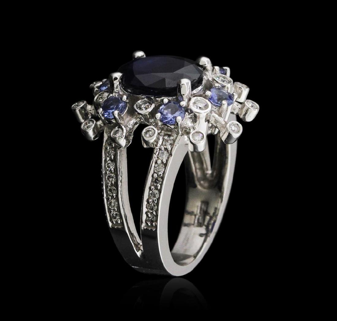 14KT White Gold 3.49 ctw Sapphire, Tanzanite and - 3