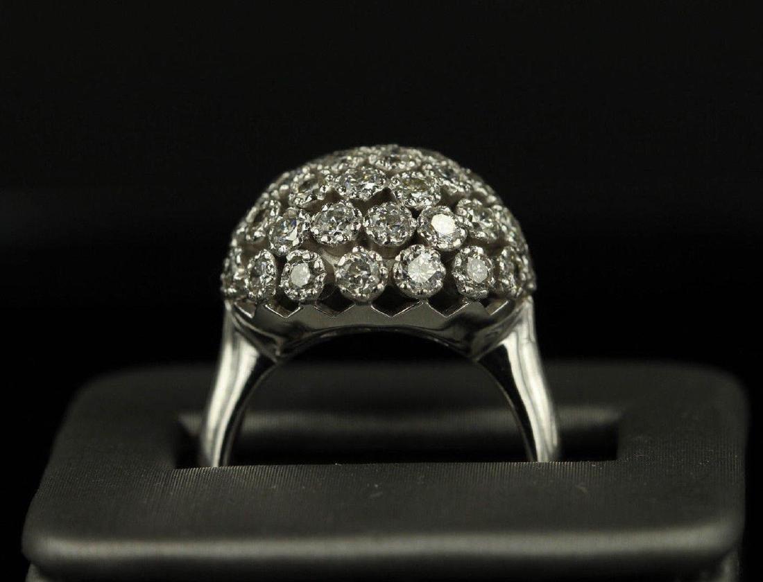 2.50 ctw Diamond Flower Design Ring - 14KT White Gold - 2