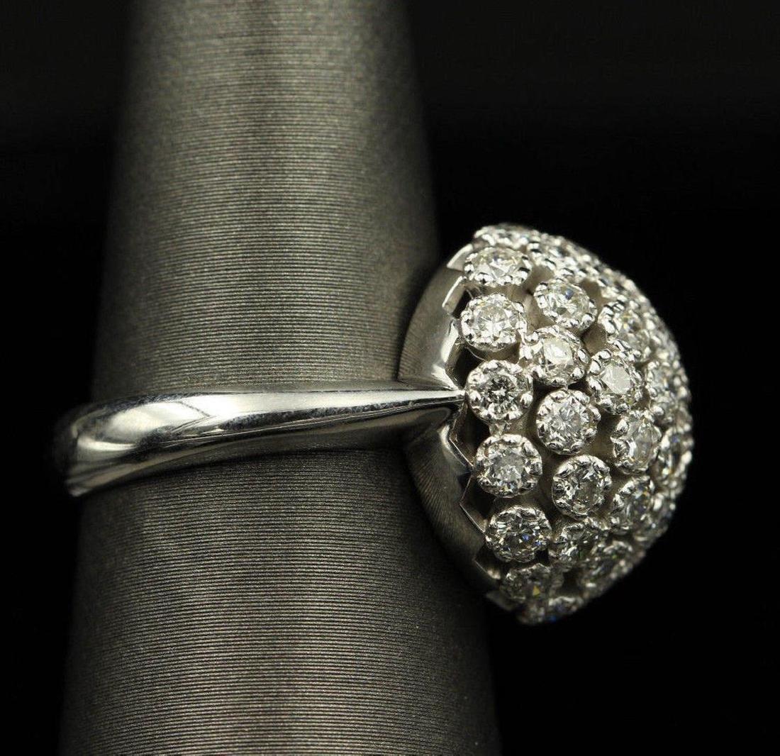 2.50 ctw Diamond Flower Design Ring - 14KT White Gold - 4