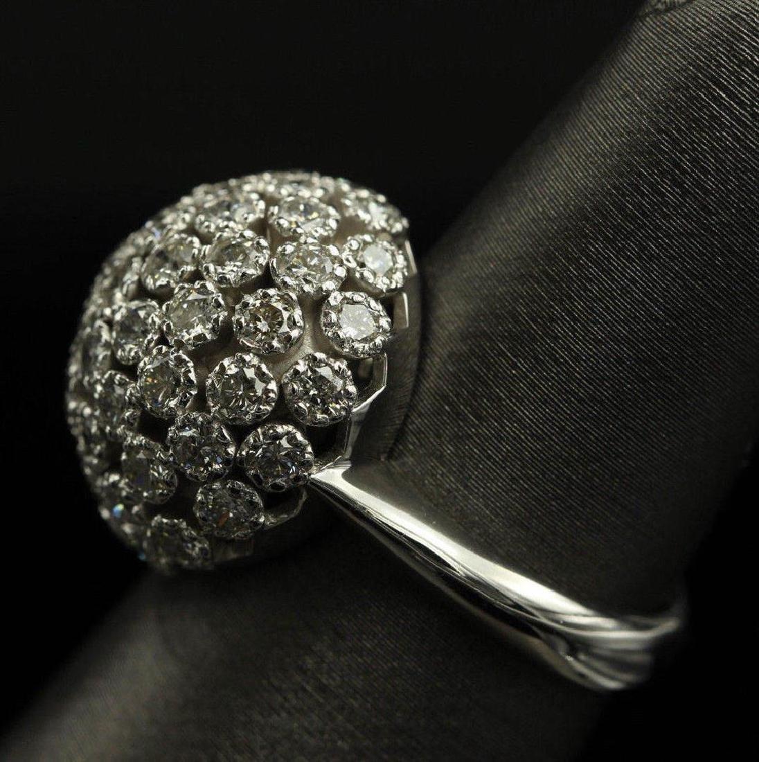 2.50 ctw Diamond Flower Design Ring - 14KT White Gold - 5