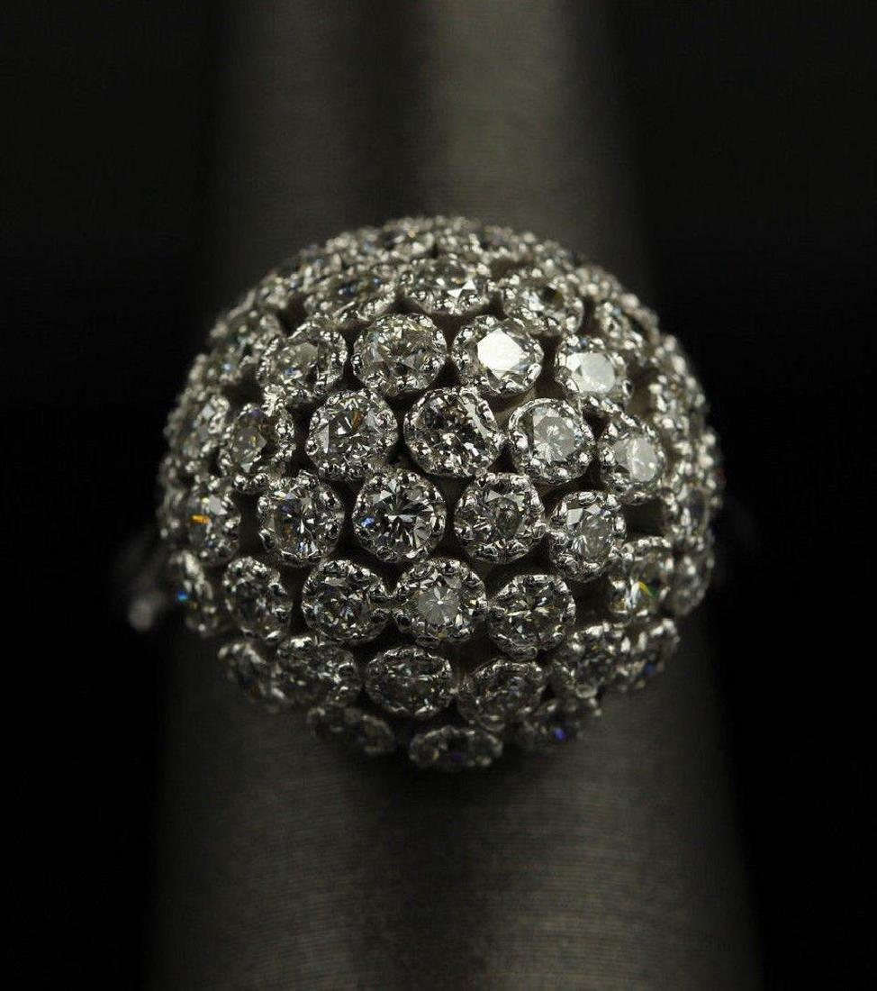 2.50 ctw Diamond Flower Design Ring - 14KT White Gold - 6