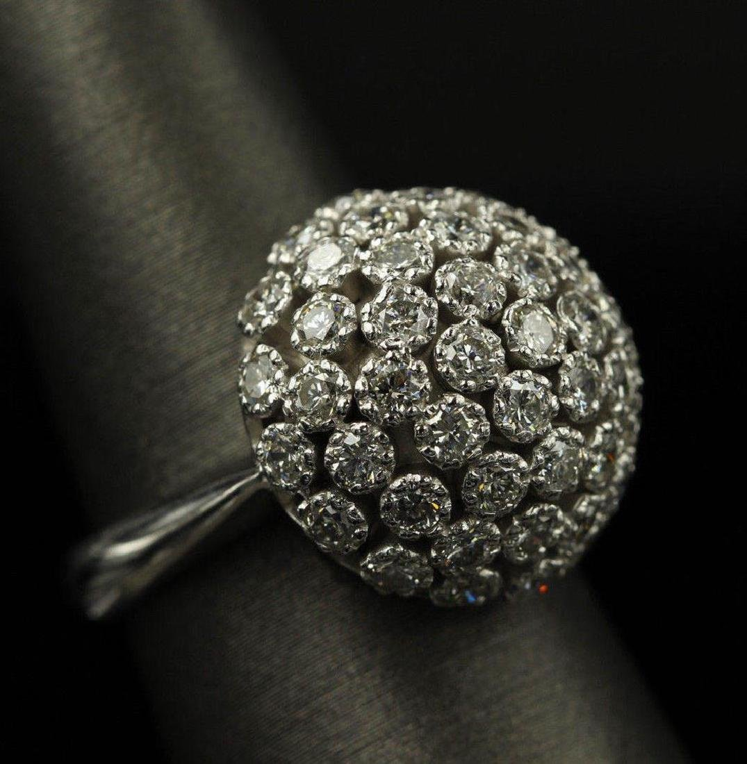 2.50 ctw Diamond Flower Design Ring - 14KT White Gold - 7