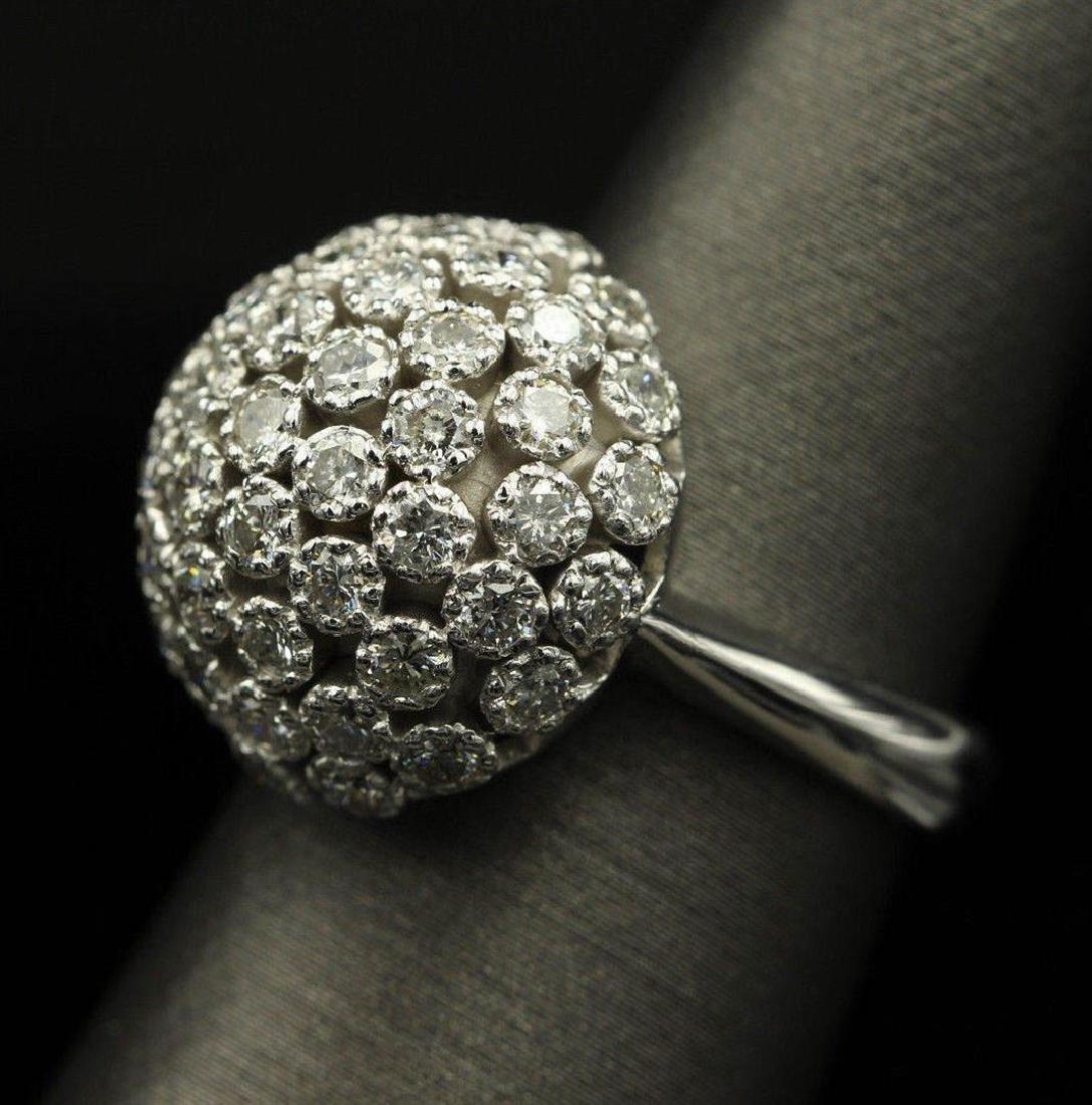 2.50 ctw Diamond Flower Design Ring - 14KT White Gold - 8