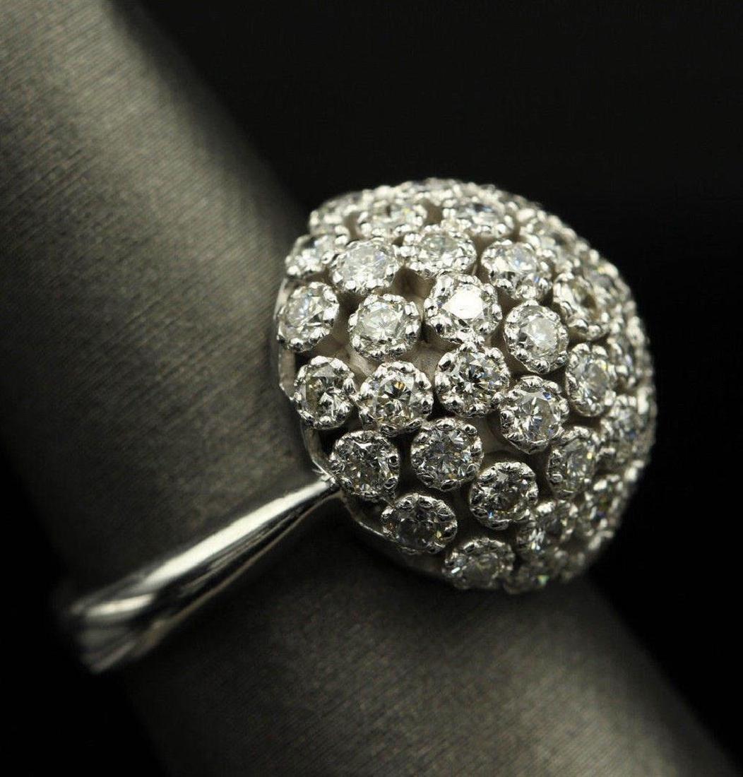2.50 ctw Diamond Flower Design Ring - 14KT White Gold - 9