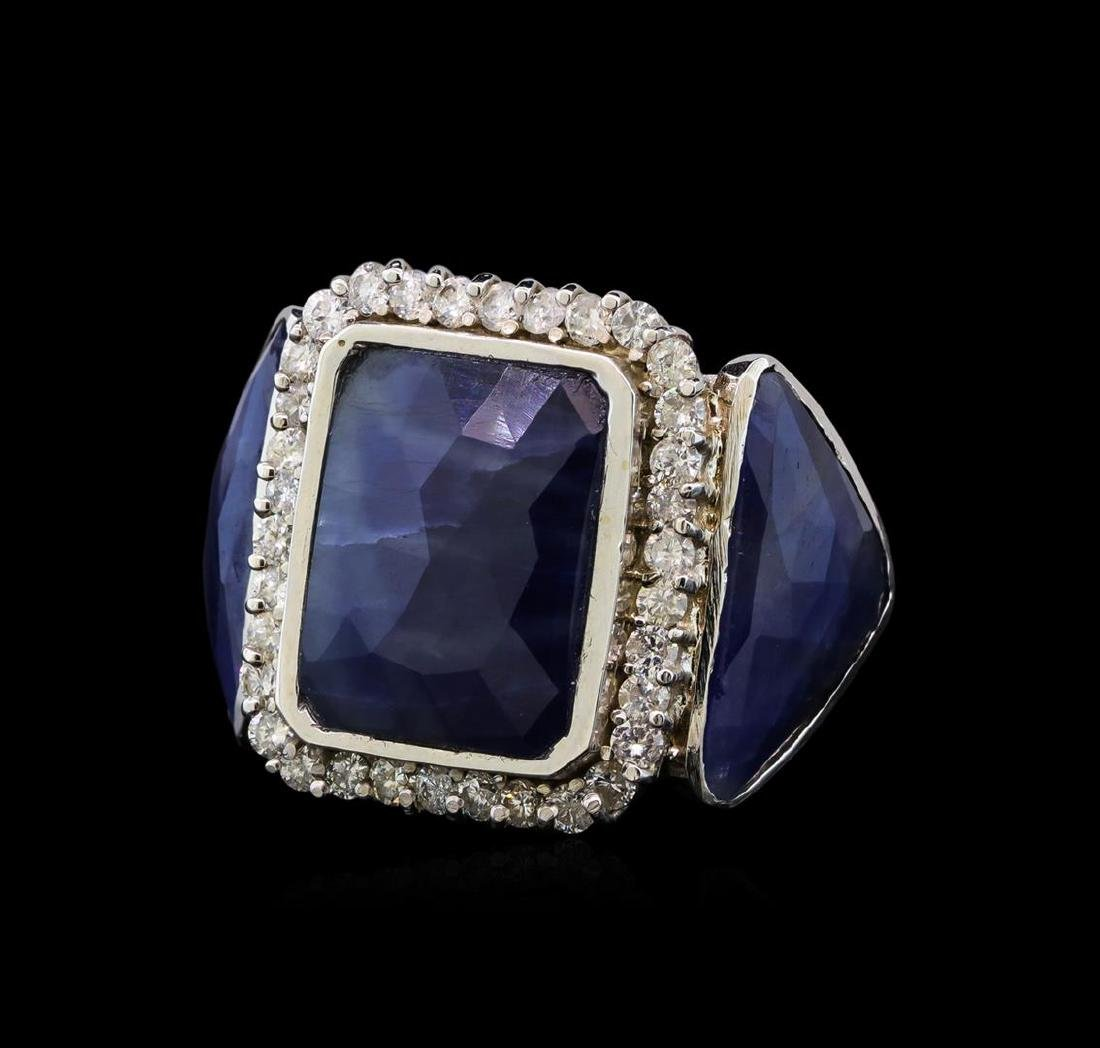 14KT White Gold 20.59 ctw Sapphire and Diamond Ring - 2