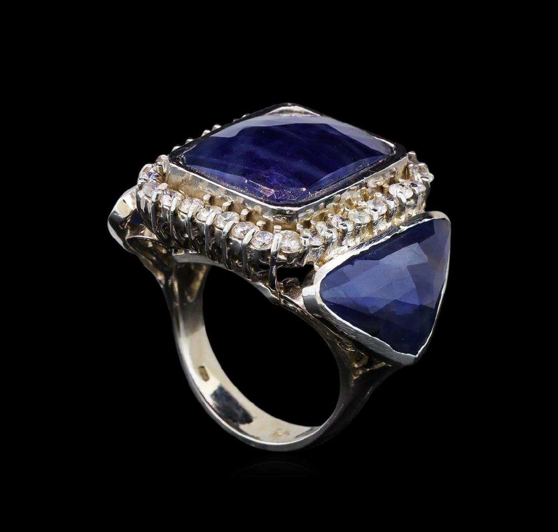 14KT White Gold 20.59 ctw Sapphire and Diamond Ring - 4