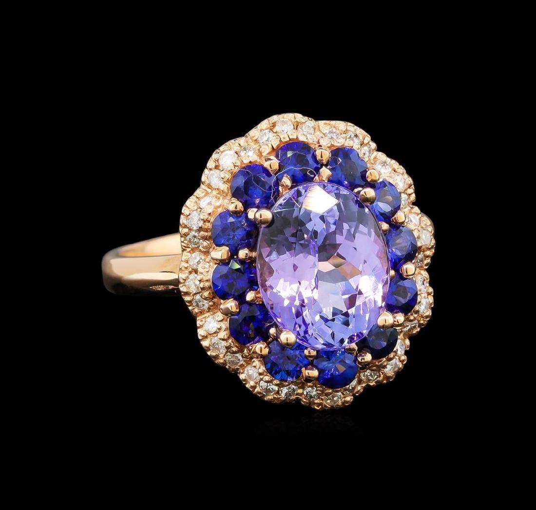 14KT Rose Gold 2.90 ctw Tanzanite, Sapphire and Diamond