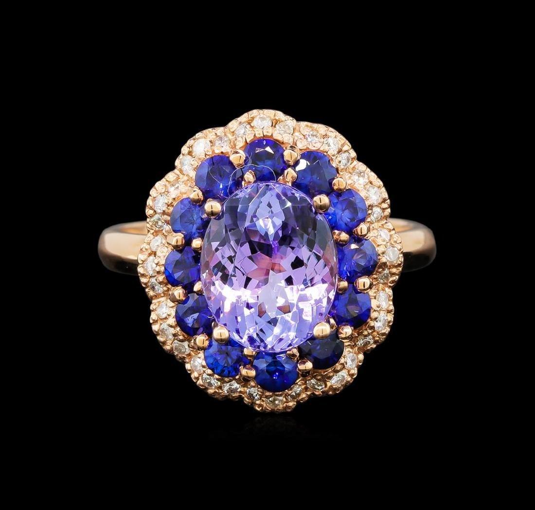 14KT Rose Gold 2.90 ctw Tanzanite, Sapphire and Diamond - 2