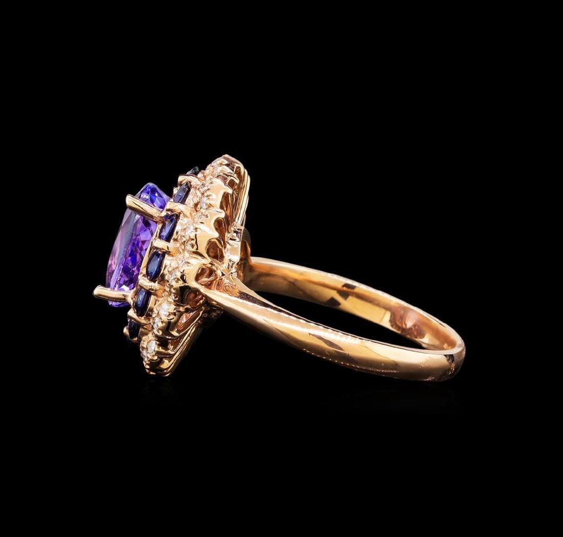 14KT Rose Gold 2.90 ctw Tanzanite, Sapphire and Diamond - 3