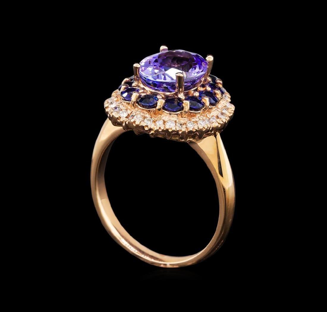 14KT Rose Gold 2.90 ctw Tanzanite, Sapphire and Diamond - 4