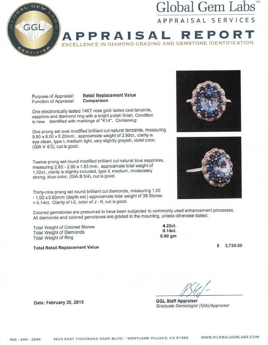 14KT Rose Gold 2.90 ctw Tanzanite, Sapphire and Diamond - 5