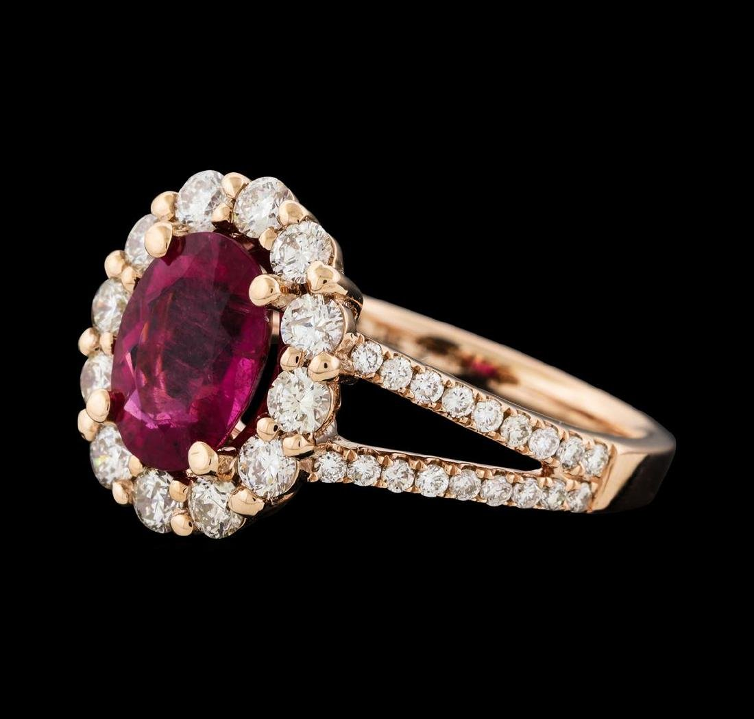 1.73 ctw Tourmaline and Diamond Ring - 14KT Rose Gold