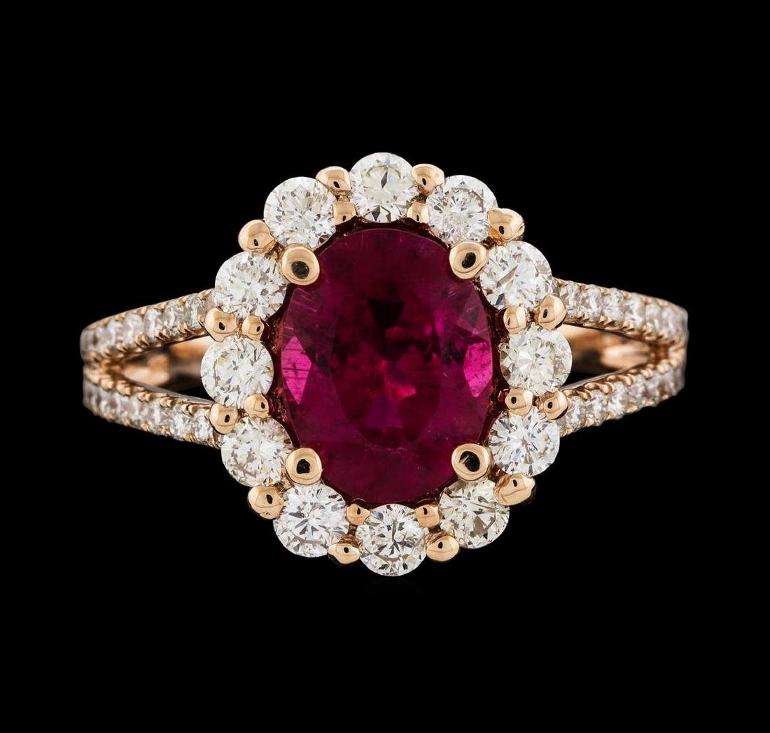 1.73 ctw Tourmaline and Diamond Ring - 14KT Rose Gold - 2