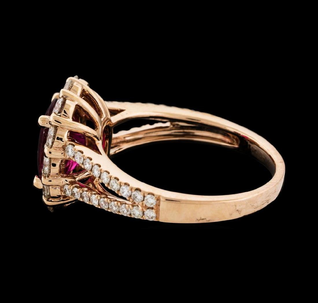 1.73 ctw Tourmaline and Diamond Ring - 14KT Rose Gold - 3