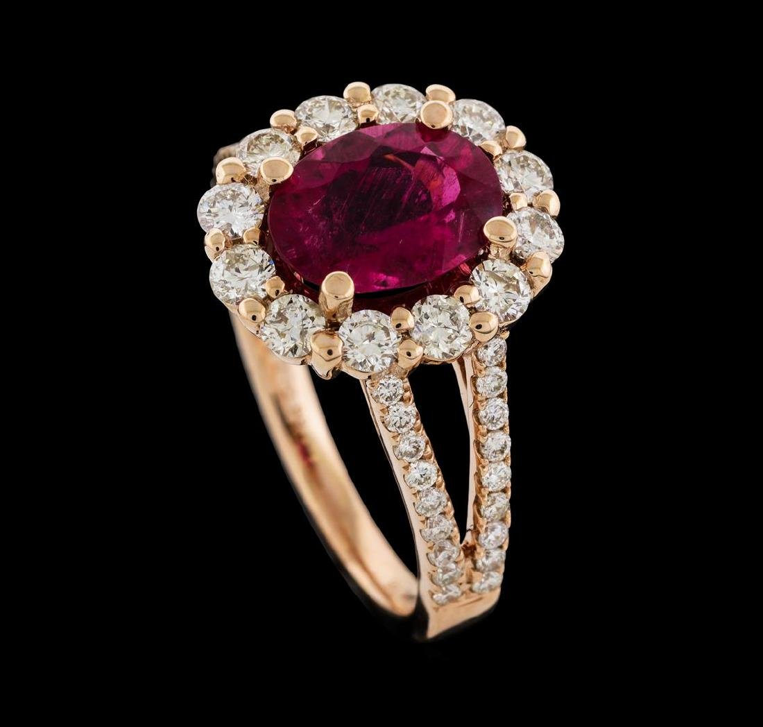 1.73 ctw Tourmaline and Diamond Ring - 14KT Rose Gold - 4