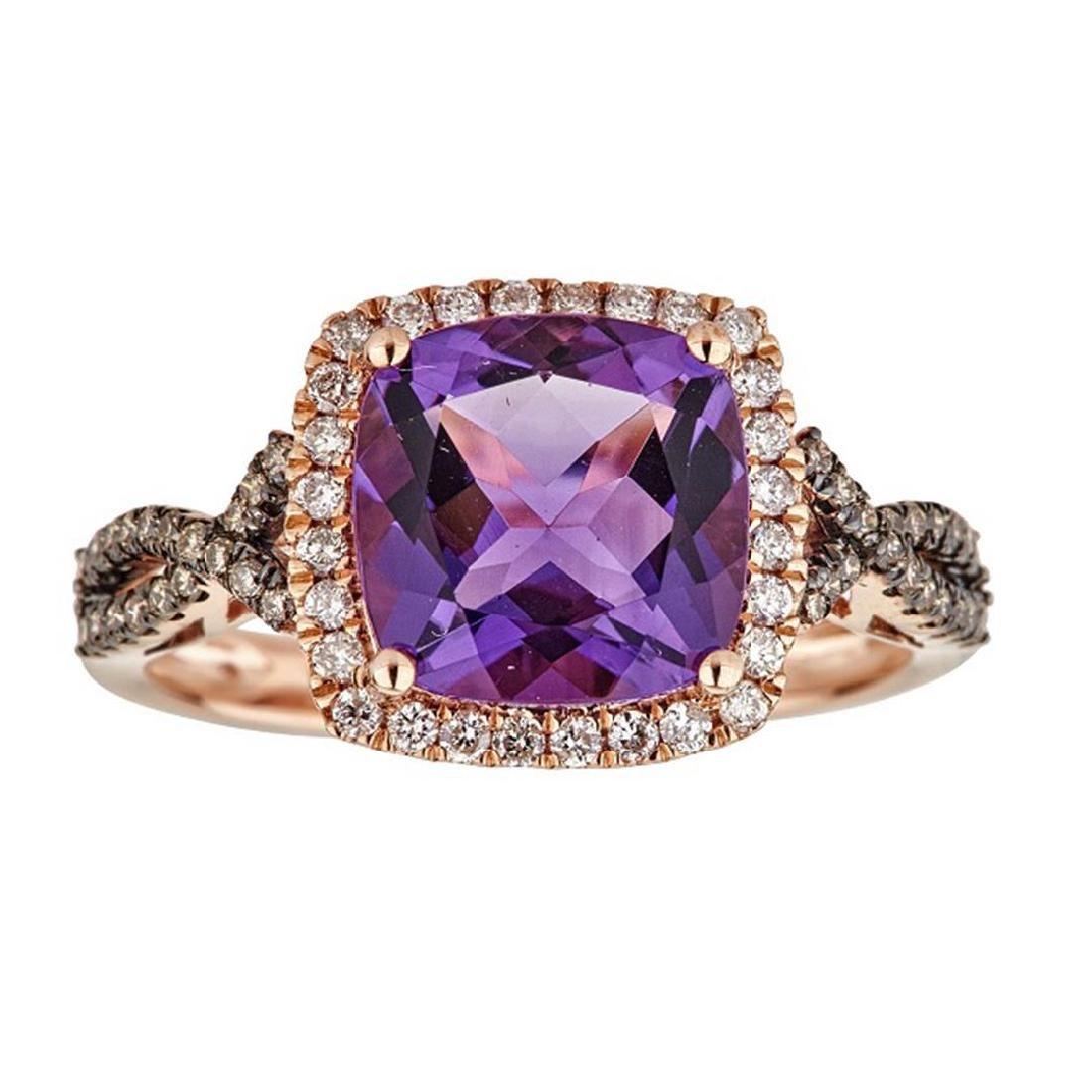2.82 ctw Amethyst, Brown Diamond and Diamond Ring -